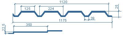 типоразмеры металлочерепицы МП Каскад