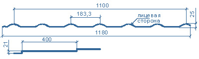 типоразмеры металлочерепицы МП Макси