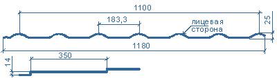 типоразмеры металлочерепицы МП Монтеррей